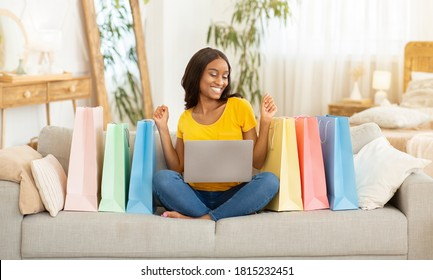 happy woman after avoiding counterfeit products on social media